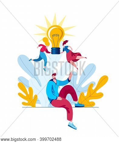 Little Girls Hold A Light Bulb Above The Mans Head. The Concept Of A Vector Illustration On The Them