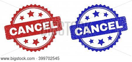 Rosette Cancel Seals. Flat Vector Grunge Seals With Cancel Title Inside Rosette Shape With Stars, In