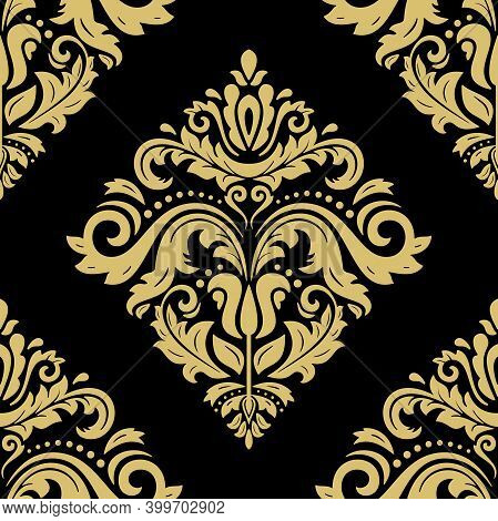 Classic Seamless Pattern. Damask Orient Black And Golden Ornament. Classic Vintage Background. Orien