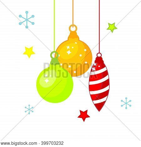 New Year Christmas Hanging Baubles. Isolated Vector Clip Art, Icon