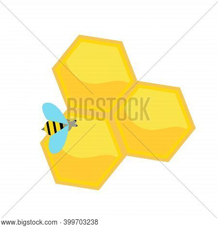 Bee On Honeycomb. Isolated Vector Clip Art