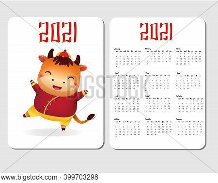 2021 Calendar Template With Asian Style Ox. Chinese New Year Design With Funny Cow. Happy Bull Chara