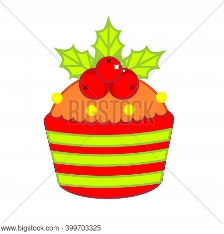 Christmas Cupcake Decorated With Holli Ilex Leaves And Berries. New Year Food Clip Art
