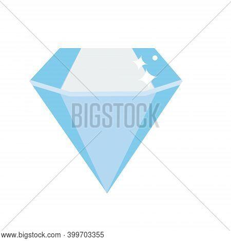 Diamond Gemstone. Simple Blue Crystal. Jewelry Symbol