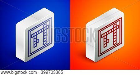 Isometric Line Bingo Icon Isolated On Blue And Orange Background. Lottery Tickets For American Bingo