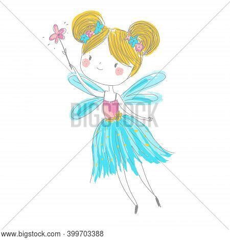 Cute Fairy. Cartoon Fantasy Fairy Princess Flapping Magic Wand. Pixie, Elf Girl In Hand Drawn Style