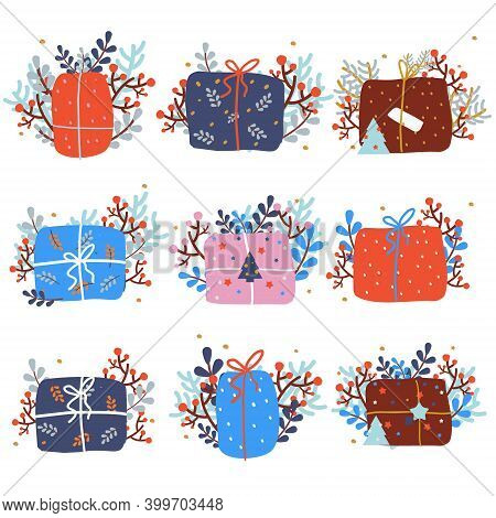 Christmas Presents. Set Of New Year Giftbox. Winter Holidays Gifts Decorated With Berries, Branches,