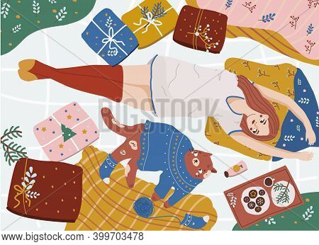 Girl Relax In Bed With Her Cat Surrounded With New Year Gifts. Winter Holidays Illustration. Female