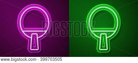 Glowing Neon Line Racket For Playing Table Tennis Icon Isolated On Purple And Green Background. Vect