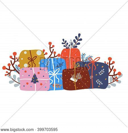 Christmas Presents. New Year Giftbox. Winter Holidays Gifts Decorated With Berries, Branches, Leaves