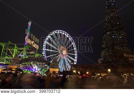 London, England - 18 December, 2016: Attractions Of The Hyde Park's Winter Wonderland Park. It's The
