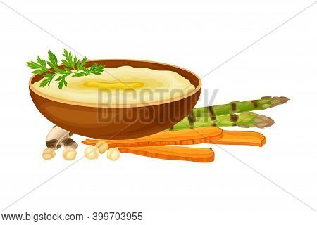 Hummus Served In Deep Bowl With Grilled Vegetables Rested Nearby As Syrian Cuisine Dish Vector Illus
