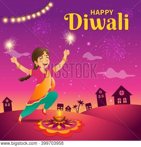 Cute Cartoon Indian Girl In Traditional Clothes Jumping And Playing With Firecracker Celebrating The