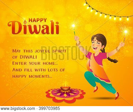 Happy Diwali Greeting Card. Cute Cartoon Indian Girl In Traditional Clothes Jumping And Playing With