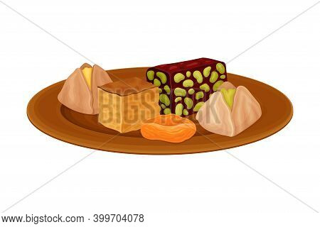 Baklava And Nougat With Nuts Rested On Plate As Syrian Cuisine Dessert Vector Illustration