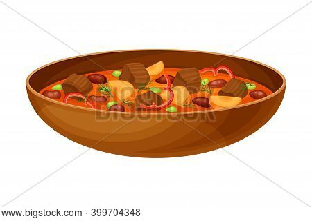 Stewed Meat With Beans As Syrian Cuisine Dish Vector Illustration