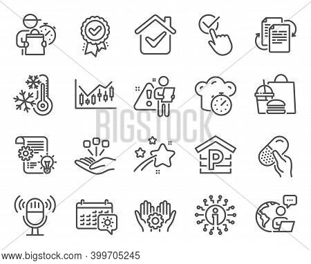 Business Icons Set. Included Icon As Parking, Capsule Pill, Checkbox Signs. Approved Award, Info, Fr