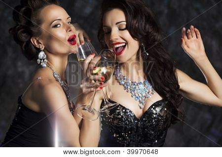 Glamour. Elated Woman Celebrating New Year Or Birthday