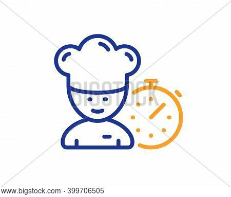 Chef Time Line Icon. Chief-cooker Sign. Food Timer Symbol. Quality Design Element. Line Style Chef I