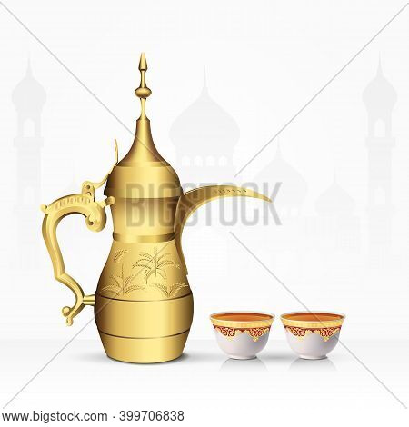 Vintage Arabic Tea Pot And Tea Cup Isolated On White Background. 3D Vector Illustration