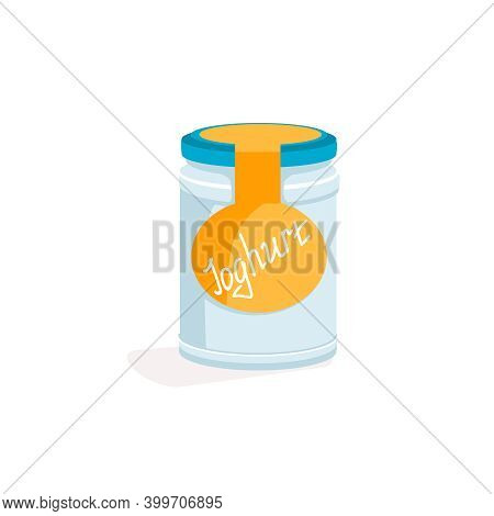 Glass Jar Of Natural Yogurt. Protein Rich Dairy Product Packaging With Screw Cap. Natural Fresh Heal
