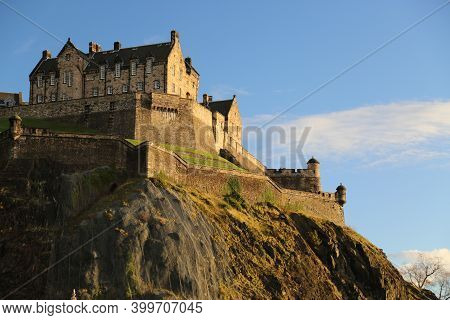Edinburgh Castle In Autumn, Scotland. High Quality Photo