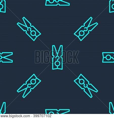 Green Line Old Wood Clothes Pin Icon Isolated Seamless Pattern On Blue Background. Clothes Peg. Vect