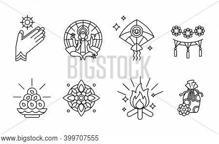 Makara Sankranti, Hindu Festival Of Sun God Surya - Set Of Outline Icons. Also Known As Maghi, Ponga