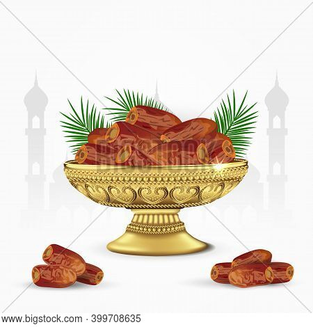 Vintage Bowl Of Dates With Palm Leaves Isolated On White Background. Ramadan Iftar Food. 3D Vector I