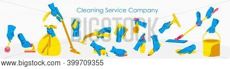 Cleaning Service Company. Hands In Rubber Gloves Holding Different Cleaning Tools. Housework, Cleanu