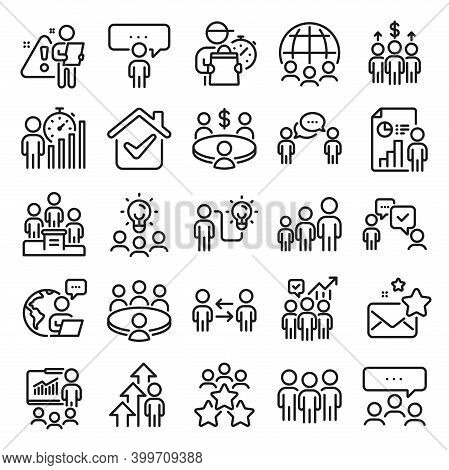 Meeting Line Icons. Conference, Seminar, Classroom. Team, Work And Business Idea Icons. Discussion,