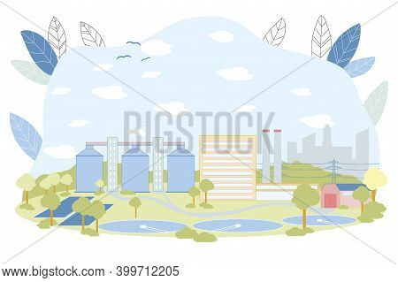 Treatment Facilities Vector Illustration. Waste Water Cleaning Facility With Round Reservoir Pool. S