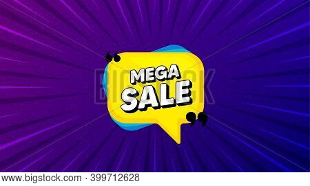 Mega Sale Bubble. Purple Background With Offer Message. Discount Banner Shape. Coupon Sticker Icon.