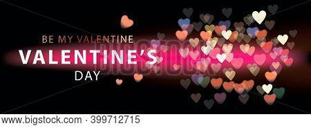 Happy Valentines Day Romantic Creative Banner, Horizontal Header For Website. Vector Illustration