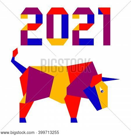 Happy New Year Vector Illustration With Origami 2021 Year Numbers And Bull. Bull Annual Animal Zodia