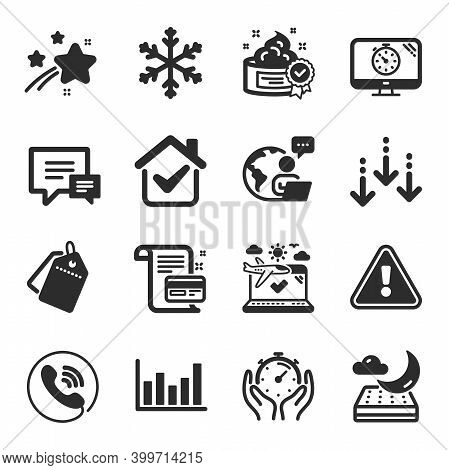 Set Of Business Icons, Such As Sale Tags, Scroll Down, Night Mattress Symbols. Column Chart, Seo Tim