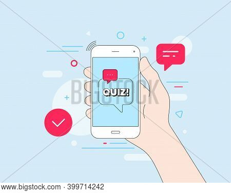 Quiz Symbol. Mobile Phone With Offer Message. Answer Question Sign. Examination Test. Customer Servi