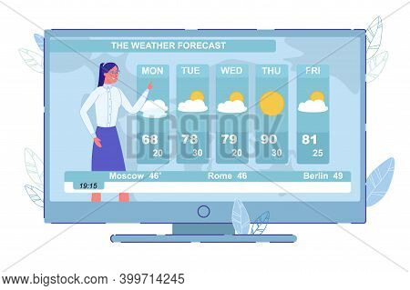 Week Weather Forecast In Country And World. Television News And Announcement. Woman Newsreader Repor