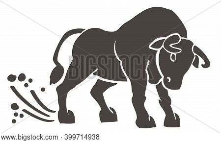 Silhouette Of A Bull Kicking A Hoof On The Ground Illustration On A White Background. Dust From Hoov