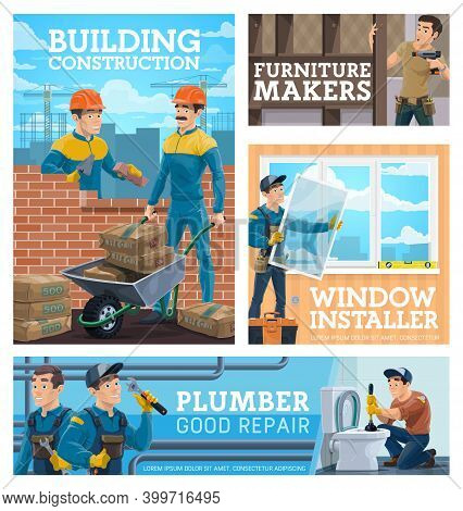 Construction Workman, House Repair And Renovation Handyman Posters. Bricklayer Laying Wall And Carry