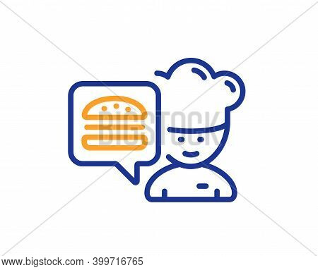 Chef Line Icon. Chief-cooker With Burger Sign. Fast Food Symbol. Quality Design Element. Line Style