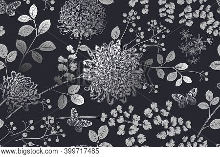 Vintage Seamless Pattern. Garden Flowers Chrysanthemums, Branches With Berries, Leaves, And Butterfl