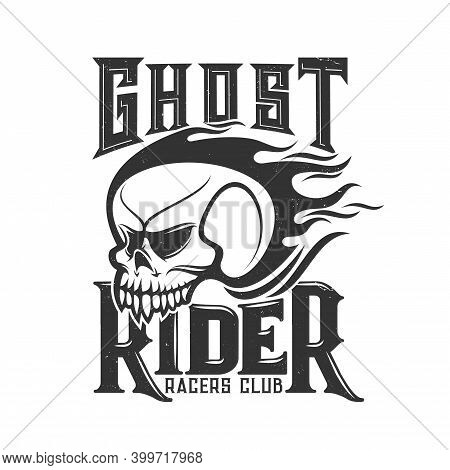 Tshirt Print With Burning Skull Vector Mascot For Racers Club Or Bikers Society Emblem With Cranium,