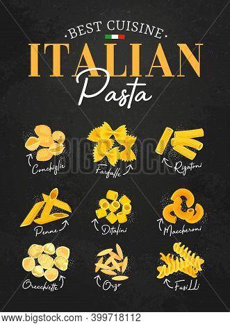 Pasta Italian Menu Food Cuisine, Italy Restaurant Dishes On Vector Blackboard Background. Italian Cu