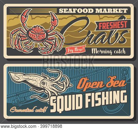 Fresh Crabs And Sea Squid. Rod With Reel And Hook, Fishing Industry Catch Vector. Fresh Seafood Prod