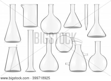 Glass Test Tubes, Chemistry Flasks And Beakers Realistic Isolated 3d Vector Mock Up. Transparent Emp