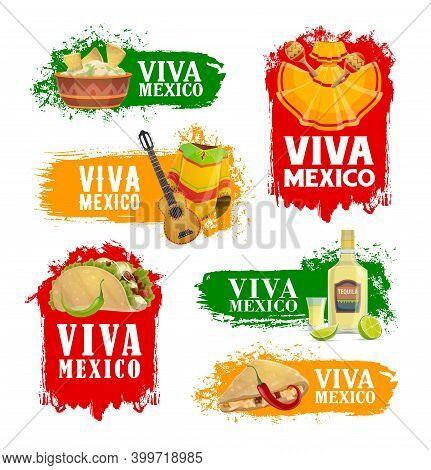 Mexican Holiday Food And Drink Vector Icons Of Viva Mexico Fiesta Party. Mariachi Maracas, Guitar An