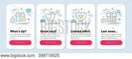 Set Of Holidays Icons, Such As Heart, Add Gift, Kiss Me Symbols. Mobile App Mockup Banners. Gift Box