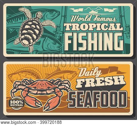 Tropical Fishing And Fresh Seafood Banners. Ocean Turtle, Horse Mackerel And Tuna, Crab, Flounder An