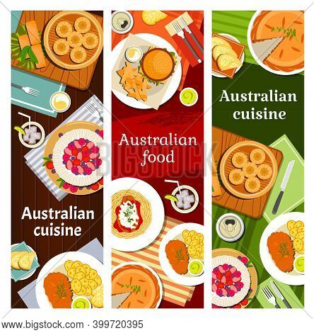 Australian Food Cuisine Menu Dishes, Australia Restaurant Banners, Vector Traditional Meal. Australi